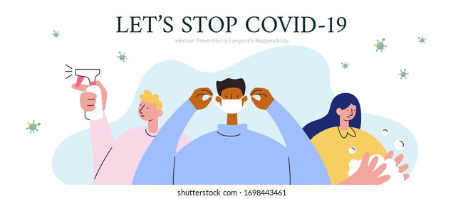Self-protection against COVID-19 banner, including wearing face masks, washing hands and using disinfectant spray