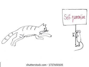 self-quarantine. black and white graphic picture cat runs after the mouse, poster with a lettering.
