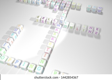 Sell Online, marketing keyword crossword. For web page or design, as graphic resource, texture or background. 3D rendering.