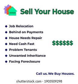 Sell your house banner. Real estate sign for advertising.