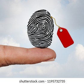 Selling private information and social media personal data market concept as a finger holding a fingerprint with a price tag as an internet business with 3D illustration elements.