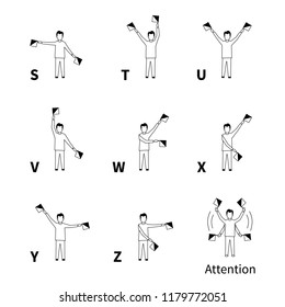 Semaphore signals alphabet, black latin letters on white