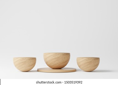 semi circles mock up Minimal 3d rendering scene with composition empty wood podium for product and abstract background.  Geometric shape in white colors. 3d illustration