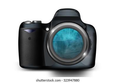 Semi realistic dslr camera illustration/Dslr camera/Illustration