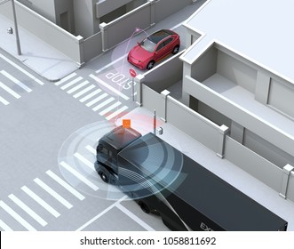 Semi truck detected car in one-way street in the blind spot. Connected car concept. 3D rendering image.