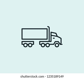 Semi truck icon line isolated on clean background. Semi truck icon concept drawing icon line in modern style.  illustration for your web mobile logo app UI design.