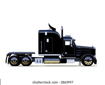 A semi truck (lorry) without any attached trailer on white
