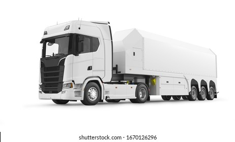 Semi truck with trailer for glass transportation. 3D rendering isolated on white background.