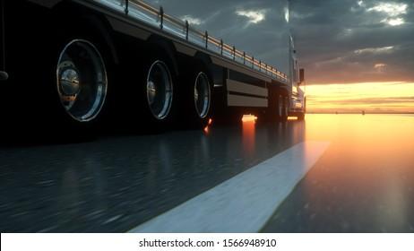 Semi Truck Wheels Closeup on asphalt road highway at sunset - transportation background. 3d rendering.