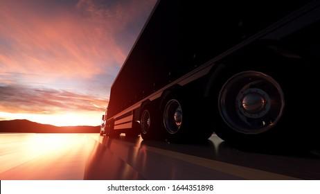 Semi Truck Wheels Closeup on asphalt road highway at sunset - transportation background. 3d illustration.