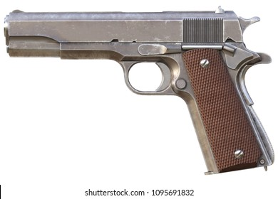 Semi-automatic pistol. Isolated on white background. 3d rendering.