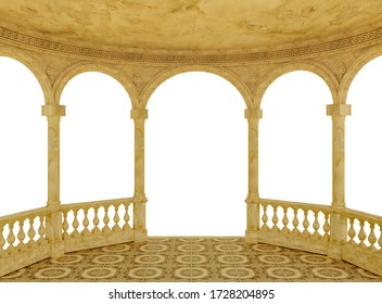 Semicircular arched terrace with a balustrade on a white background 3d rendering
