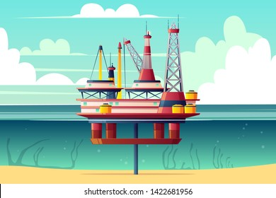 Semi-submersible oil platform, sea-based offshore drilling rig cross section cartoon illustration. Oil, gas extraction on continental shelf. Petroleum industry technologies. Deep-sea drilling