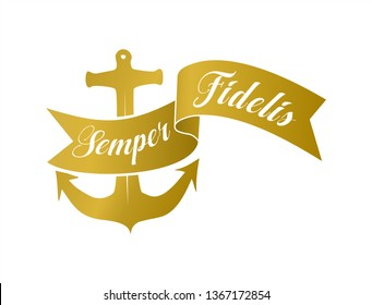 Semper fidelis banner and anchor symbol. Gold emblem design on a white background.