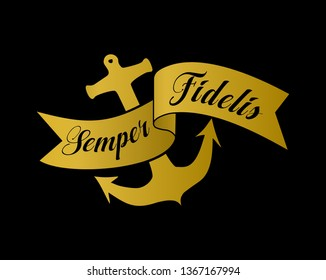 Semper Fidelis gold crest with banner and anchor, isolated on a black background. Latin motto of the US Marines which translates to Always Faithful. Marine and maritime-related icon and symbol.