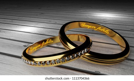 Semper fidelis, which means 'Always loyal' - warm, glowing words inside two tied golden rings to symbolize eternal love and marriage bond, 3d illustration