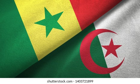 Senegal and Algeria two flags textile cloth, fabric texture