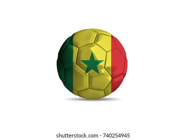 Senegal ball ,High quality render of 3D football ball 3D rendering.