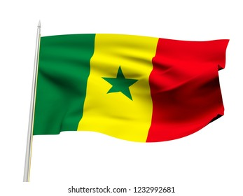 Senegal flag floating in the wind with a White sky background. 3D illustration.