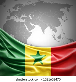 Senegal flag of silk with copyspace for your text or images and world map background -3D illustration