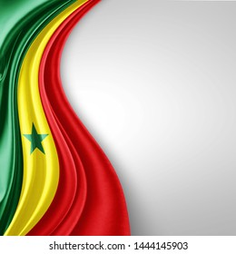 Senegal  flag of silk with copyspace for your text or images and White  background-3D illustration
