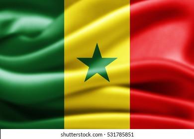 Senegal flag of silk-3D illustration