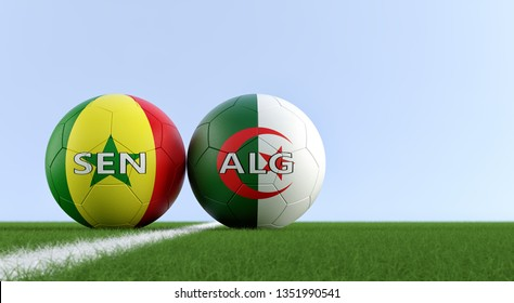 Senegal vs. Algeria Soccer Match - Soccer balls in Senegal and Algerian national colors on a soccer field. Copy space on the right side - 3D Rendering