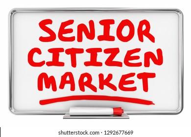 Senior Citizen Market Elder Care Dry Erase Board Words 3d Illustration