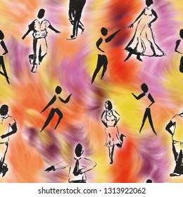 senior dancer silhouettes on colorful background as seamless pattern