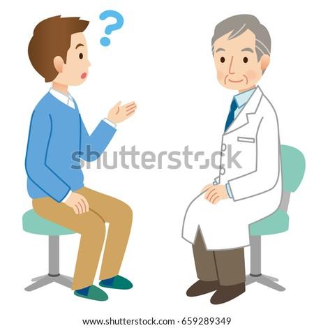 senior doctor medical explain young husbandのイラスト素材 659289349