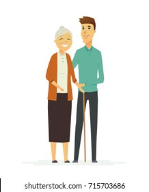 Senior Help - colored modern flat design illustration, composition of cartoon characters. Old woman, grandmother with a cane and young man, son, grandson helping her. Kindness, respect and care.