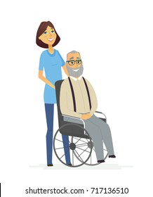 Senior Help - colored modern flat design illustration, composition of cartoon characters. Old man, grandfather on wheelchair with a young woman, daughter, nurse, helping him. Kindness and care.