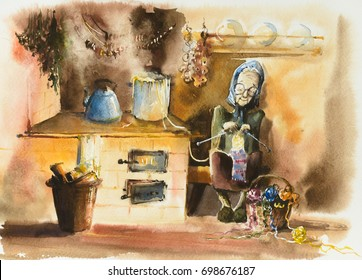 Senior woman knitting a scarf in old kitchen. Picture created with watercolors.