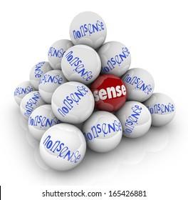 Sense Vs Nonsense Ball Pyramid Illogical Vs Logical Idea