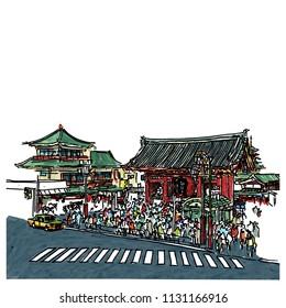 Sensoji temple at Asakusa neighborhood sketchbook style : Illustration design.