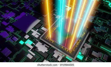 Sensor for digital camera with rays of light, dual processor, futuristic AI printed circuit board, 3D rendering