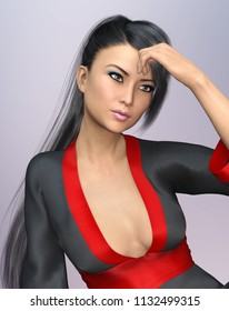 Sensual Asian woman with ponytail hairstyle in kimono Computer generated 3D illustration