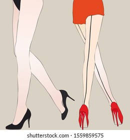 The sensual legs of a woman with beautiful high-heeled female shoes