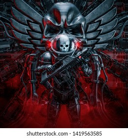 Sentry skeleton military astronaut / 3D illustration of science fiction scene showing evil space soldier guard with laser rifle and skull wings emblem