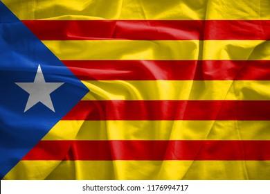Senyera estelada flag .It is a symbol of Catalan independence