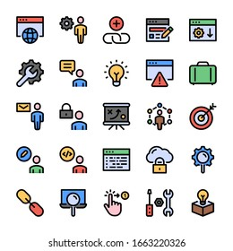 Seo & Development - Filled color outline icons.