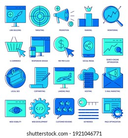 SEO icon set in colored line style. Search engine optimization symbols collection. Website development and promotion.