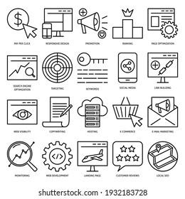 SEO Icon in dünner Linie Stil gesetzt. Sammlung von Suchmaschinen-Optimierungssymbolen. Digitales Marketing und Webentwicklung.