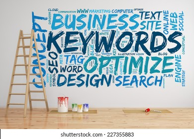 SEO keywords tag cloud on a wall with words like optimize and search (3D Rendering)