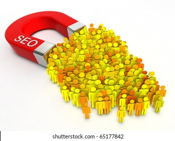 SEO magnet. Magnet with title SEO attracts people.