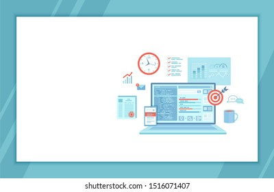 SEO Manager, Key Management, Content marketing. Coordinating and implementing search engine marketing programs. Laptop with web page and program code, icons. landing page template web banner. Raster