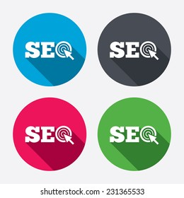 SEO sign icon. Search Engine Optimization symbol. Circle buttons with long shadow. 4 icons set.
