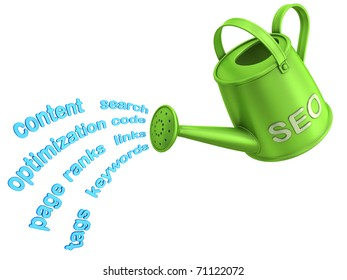 SEO watering can. Flowing words from watering can.