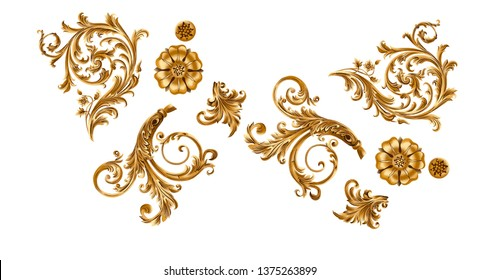 Separate Baroque elements for creating a design.