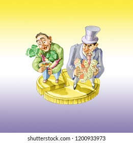 a separated coin in two different parts the greatest belongs to a rich man that can have a lot of houses and buildings the smallest belongs to a poor man that can afford only lottery pasta and vine